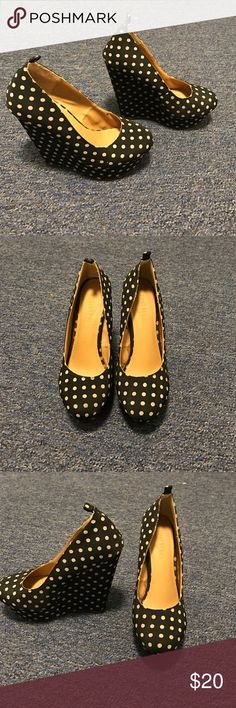 Black and white polka dot wedges Size women's 6 black and white polka dot wedges. Lightly worn. Please feel free to ask any questions! Forever 21 Shoes Wedges