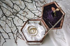 Plum and gold wedding ring box with bronze metal trim by LaurusArt