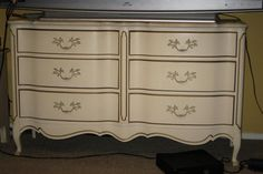 gold trimmed bedroom chest at DuckDuckGo Repurposed Furniture, Painted Furniture, French Provincial Dresser, Rainbow Chevron, Bedroom Chest, French Vintage, White Gold, Dressers, Upcycle