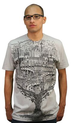 Journey T-shirt by dandingeroz from Design By Humans. Plains, Trains and awesome T-shirts. This tee tells a story of many cities and travels. A detailed illustration fills the front of this elaborate silver tee. Cool landmarks burst through iconic buildings in this unique T-shirt design. A tee for the globe trotter, or the couch potato who just wants to look at their new tee.  for $20