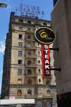 Jimmy G's Steaks is just across Ridge Avenue from the Divine Lorraine.