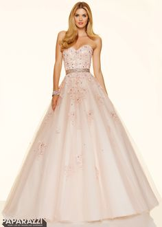 Paparazzi by Mori Lee 98018 Blush/Champagne Sweetheart Lace Ball Gown