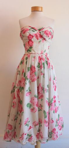 The Loved One — Vintage Strapless Painting the Roses Pink Dress