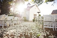 For an outdoor ceremony, the blooms make a gorgeous aisle.