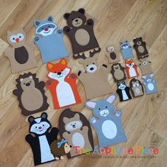 Your place to buy and sell all things handmade Glove Puppets, Felt Puppets, Puppets For Kids, Felt Finger Puppets, Puppet Patterns, Felt Patterns, Puppet Crafts, Felt Crafts, Animal Hand Puppets