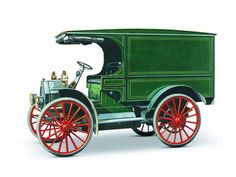 Shown here in beautiful color is a circa 1912–1915 International Model MW fitted with a useful and stylish van body. Such trucks were bought by many businesses because they offered fast, efficient, and dry delivery of goods.