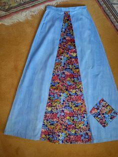 Vintage 80's hippy Bo Ho festival, maxi flared skirt cotton + satin panel sz 10 | eBay