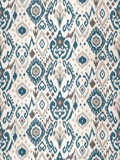 Peacock Blue Linen Ikat Upholstery Fabric - Blue Grey Ikat for Furniture Upholstery - Blue Ikat Pillow Material - Peacock Blue Home Decor