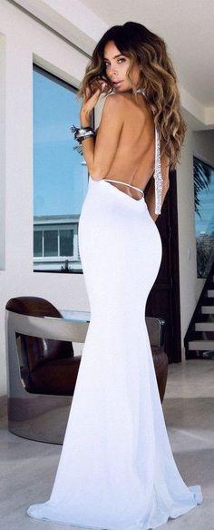 White Backless Maxi Dress