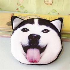 3D girl wallet bag ladies face zipper mini cat coin purses dog children's purse plush bolsa de moeda coins pouch monedero gato
