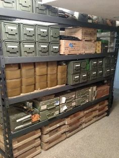 Don't mess up your ammo by storing it in the wrong location and learn where you should keep ammunition from this guns and ammo Orange County specialist! Ammo Storage, Weapon Storage, Tactical Wall, Tactical Gear, Gun Safe Room, Reloading Room, Gun Vault, Ammo Cans, Gun Rooms
