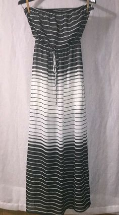 454609dd85d DEB Size Small Medium Strapless Black  amp  White Chiffon Striped Maxi Dress  w  Slit