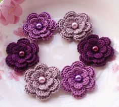 6 Crochet Flowers With Pearls In Purple Plum Rose by YHcrochet