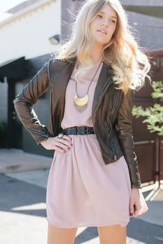 faux leather jacket with silk chiffon dress   clothing from @frances vintage