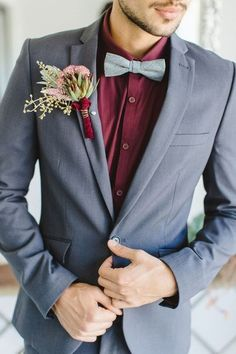 2019 Most Popular Wedding Colors for Fall and Winter--marsala/burgundy wedding groom with gray suit, wedding suit Most Popular Wedding Colors for Fall and Winter Burgundy And Grey Wedding, Grey Suit Wedding, Burgundy Suit, Wedding Tux, Wedding Attire, Wedding Ideas, Wedding Inspiration, Men Wedding Suits, Wedding Beach