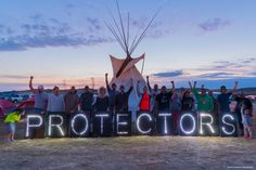 We must continue to stand in solidarity with our brothers and sisters who have bravely joined together in North Dakota to take on big fossil fuel companies and halt the creation of the Dakota Access pipeline. #NoDAPL  Photo credit: Overpass Light Brigade