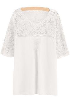 Stylish Round Neck Short Sleeve Lace Spliced Crochet Flower Chiffon Women's Blouse In White,Xl   Twinkledeals.com