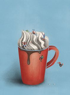 Choclat milk with whipped cream snow editorial illustration by Maren Bruin