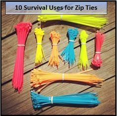Zip ties have many practical uses in survival situations. Here are 10 uses for zip ties. ~ the Survival Mom Homestead Survival, Survival Food, Wilderness Survival, Camping Survival, Outdoor Survival, Survival Prepping, Survival Skills, Survival Hacks, Survival Supplies