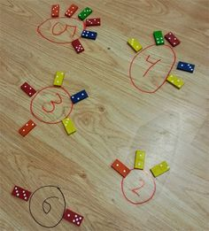 Decomposing numbers with dominoes - start with a number in a circle and have students place the dominoes that add up to that number.