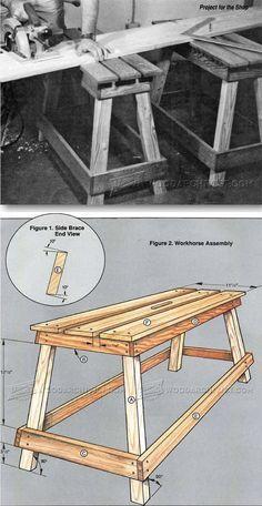 Workhorse plans - workshop solutions plans, tips and tricks Wood Bench Plans, Diy Wood Bench, Woodworking Bench Plans, Woodworking Workshop, Woodworking Shop, Furniture Making, Diy Furniture, Vintage Industrial Furniture, Wood Projects