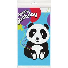 """Birthday Panda Plastic Table Cover, 84 x 54"""", Multicolor  Bought at Amazon for under $3.00"""