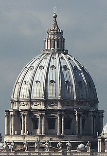 Architecture during the Renaissance was inspired by the ruins of ancient Greeks & Romans. After the success of the dome in Brunelleschi's design for the Santa Marie del Fiore the dome became an indispensable element in church architecture. This picture shows the dome of St. Peter's Basilica in Rome.