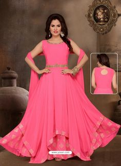 Buy the traditional yet designer salwar kameez. Buy this prominent pink embroidered and resham work readymade anarkali suit. Gowns For Girls, Frocks For Girls, Buy Gowns Online, Sarees Online, Long Anarkali Gown, Casual Gowns, Lab, Frock For Women, Party Frocks