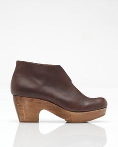 57e7cdff0b1 Diggin  the wooden heels with deep chocolate coloured leather. Funky Shoes