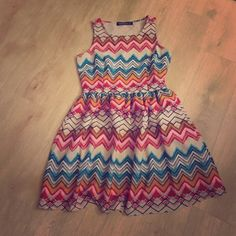 Chevron Printed Dress Tea length. Never worn. Keyhole cut out in back. Sugarhill Dresses