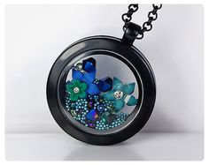 Floating Charm Locket Memory Locket Black Glass by 6maniacLemurs, $27.00