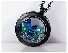 Floating Charm Locket Memory Locket Black Glass by 6maniacLemurs, $27.00