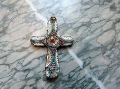 Big Antique Italian micro mosaic cross by MyFrenchAntiqueShop