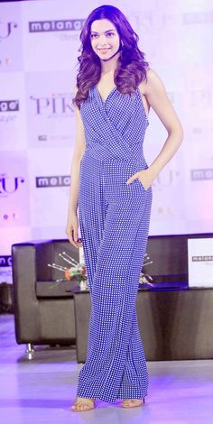 Deepika Padukone in blue and white Armani Jeans jumpsuit. I just bought this, it's stunning on ☺️