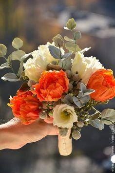 Clay flowers by Elena Rydvan. Букеты ручной работы. Ярмарка Мастеров - ручная работа Букет. Тюльпаны, бруния, эвкалипт.. Handmade.