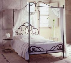 i have always wanted a four poster bed but they always look too bulky. this one is perfect though Source by obliqcinema. 4 Poster Bed Canopy, Iron Canopy Bed, Canopy Bed Frame, Four Poster Bed, Poster Beds, Canopy Beds, Dream Bedroom, Home Bedroom, Master Bedroom