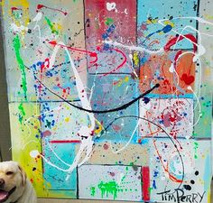 Big splash painting.  Lucy in lower left...