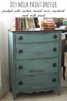 French Enamel Boxwood Milk Paint Dresser Primitive and Proper