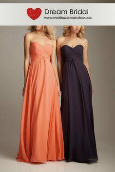 For the Girls :Sheath Sweetheart Empire Waist Pleated Long Chiffon Coral Bridesmaid Dresses BD0754