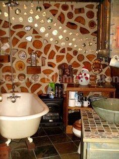 Cordwood home with loft | cordwood cabin bathroom detail