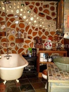 cordwood home with loft | cordwood cabin bathroom detail
