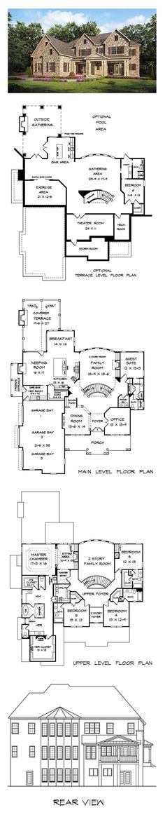 New House Plan 58256 | Total Living Area: 4819 sq. ft., 5 bedrooms and 5.5 bathrooms.: