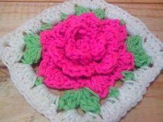 Crochet Granny square con motivo de flor - Paso a paso - YouTube