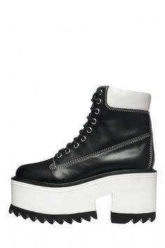 Jeffrey Campbell Shoes ENIGMA Boots in Black White