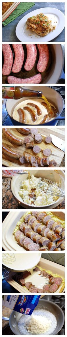 German sausages cooked in German-style beer and then baked in a creamy cheese beer sauce with potatoes.