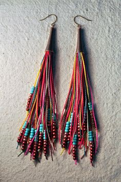Feather Fringe Earrings Bright Multi by AMiRA Jewelry. I have these in a pink/coral color scheme. They are so cute and funky!