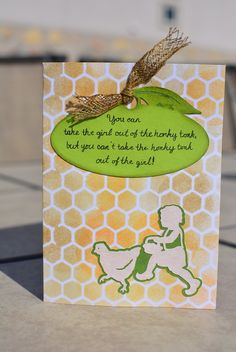 DIY card made in tribute to Sonora, CA.  Uses cricut explore die cuts & writing.  Background done with Tim Holtz honeycomb layering stencil & distress inks to look like chicken wire.