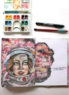 Lost in the stars | Art Journal page by @punkprojects