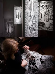 Paper artist Karen Bit Vejle working on one of her installations at H.C. Andersens Museum ~Images by Helle S. Andersen,  2010