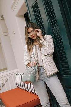 How to Take Your Jeans from Casual to Chic by Pam Hetlinger - Pam Hetlinger style, tweed jacket, chanel bag, light washed denim | TheGirlFromPanama.com